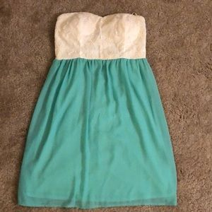 White and turquoise dress
